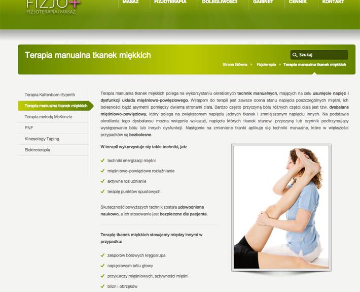 strona internetowa fizjo-plus.com menu pomocnicze na podstronach
