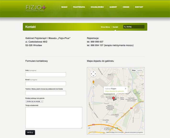 strona internetowa fizjo-plus.com - kontakt i mapy